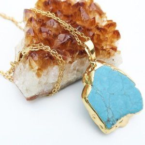24 KT Gold Plated Genuine Turquoise Stone Necklace